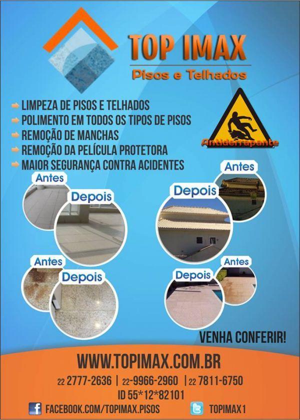 Topimax Pisos Telhados Prezados Senhores, A TOP IMAX e uma empresa, com sede em Rio das Ostras – RJ, dedicada ao tratamento/revitalização de Pisos e Telhados. Nossas atividades são voltadas
