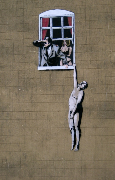 street art in Bristol, UK. Banksy