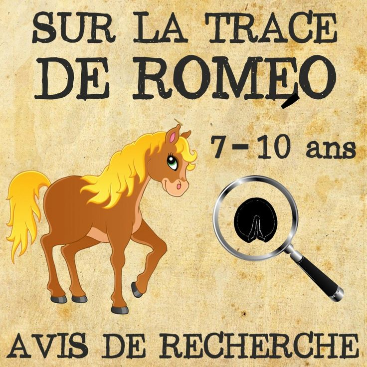 Une chasse au trésor où les enfants doivent suivre des indices en résolvant des énigmes afin de retrouver le poney disparu de Monsieur Ducroc, nommé Roméo.