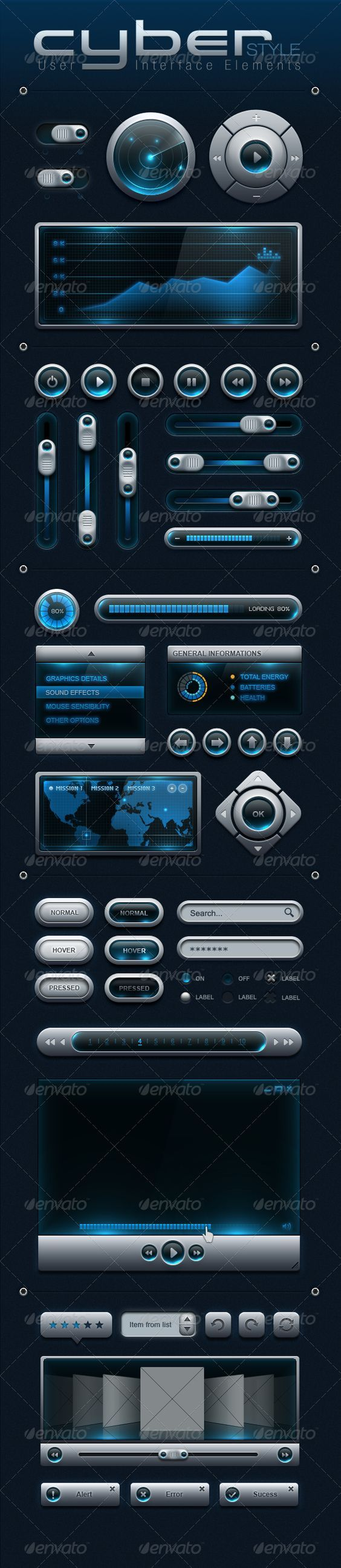 CYBER Style User Interface Elements: