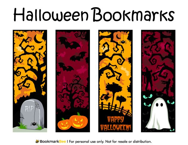 free printable halloween bookmarks download the pdf template at httpbookmarkbee - Halloween Bookmarks To Color