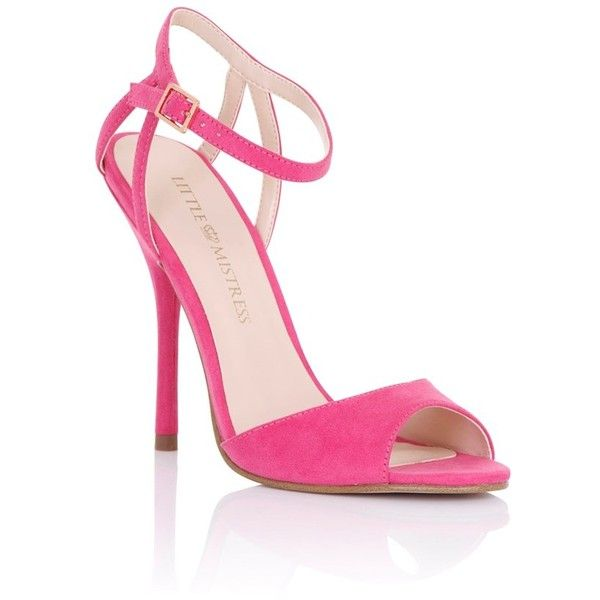 Little Mistress Pink Strappy Heeled Sandals ($65) ❤ liked on Polyvore featuring shoes, sandals, ankle wrap sandals, open toe shoes, lipsy shoes, open toe sandals and ankle strap sandals