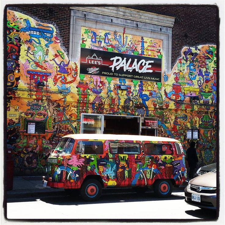The Hippie Van on Queen St. in Toronto in front of the famous Lee's Palace. Art by Al Runt