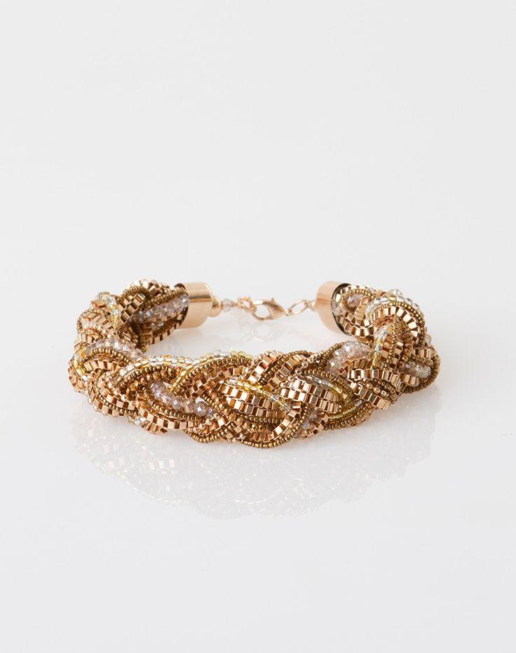 1.2.3 Paris - Les accessoires printemps-été 2015 - Collier tressé pêche Wilson 79€ #123paris #mode #fashion #accessoire #accessories #dore #gold #necklace