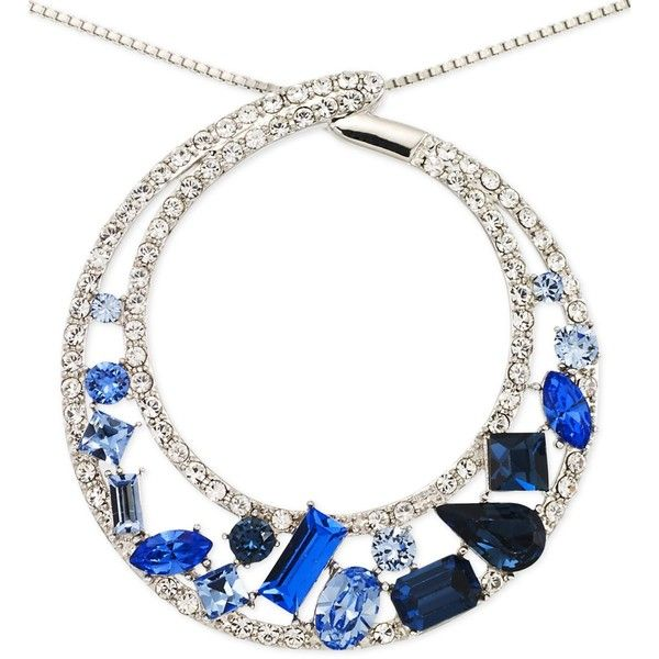 Sis by Simone I Smith Blue and White Crystal Circle Pendant Necklace... (4 440 ZAR) ❤ liked on Polyvore
