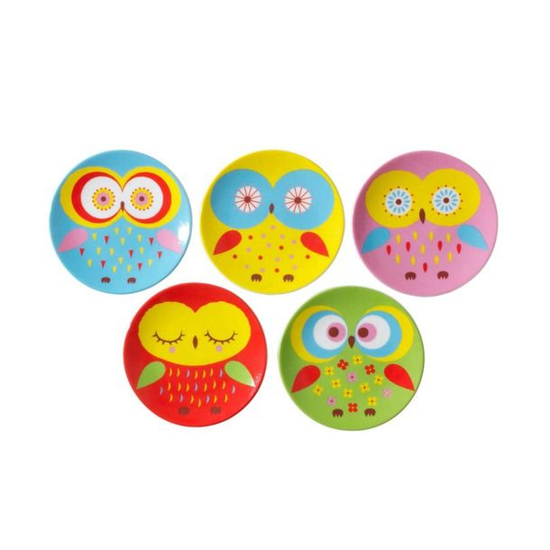 Owl Dish Set of 5 (by Miya) - great idea for pottery painting, magnets, cards, icons...