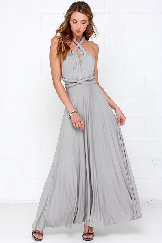 Tricks Of The Trade Light Grey Maxi Dress