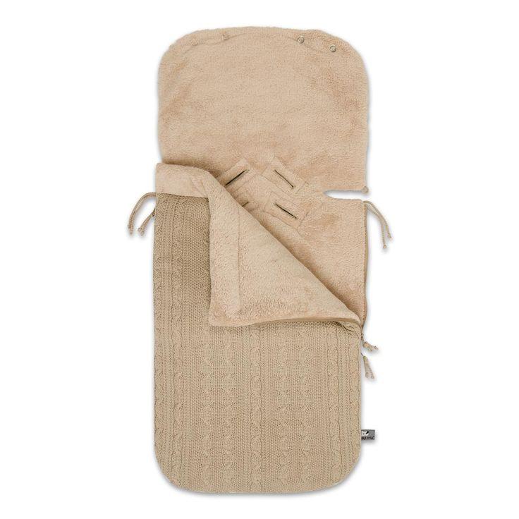 Baby's Only voetenzak in een combinatie van kabel en teddy, in de kleur beige. Uit de online shop van Babyaccessoires.eu.