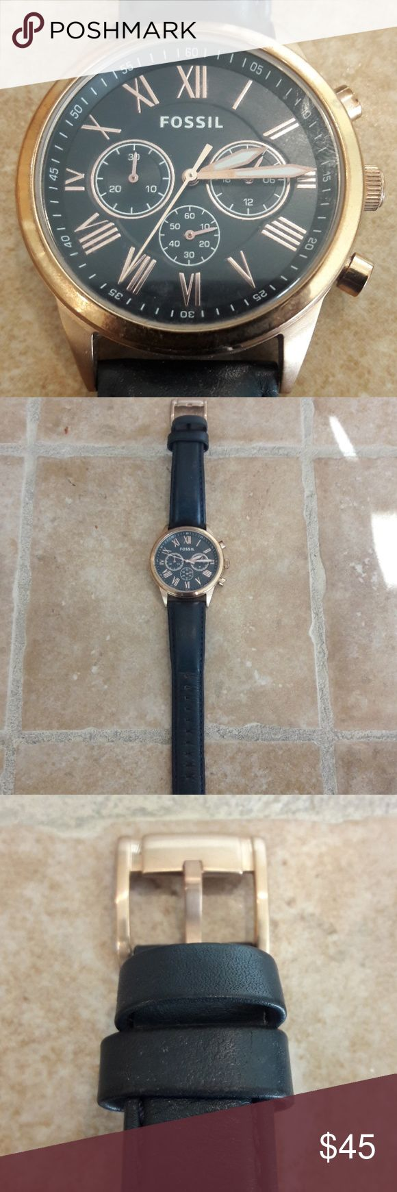 Fossil Chronograph Watch Gently worn, Rose Gold plated Fossil Accessories Watches