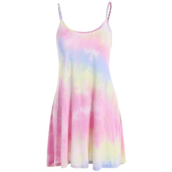 Tie Dyed Mini Summer Dress (£11) ❤ liked on Polyvore featuring dresses, vestidos, tie-dye dress, pink summer dresses, short dresses, tye dye dress and short summer dresses