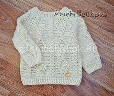 Детский свитер с аранами | Вязание для девочек | Вязание спицами и крючком. Схемы вязания.