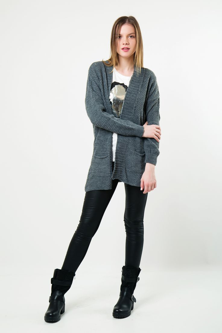 Cardigan with collar and side patch pockets. Long sleeves. http://www.modaboom.com/clothes/zaketes-en/gkri-plekti-zaketa-me-giaka-kai-tsepes/