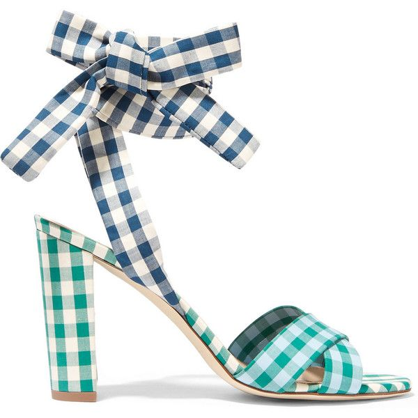J.Crew Charlotte gingham poplin sandals ($295) ❤ liked on Polyvore featuring shoes, sandals, heels, colorful sandals, multi colored sandals, cuff sandals, cuffed sandals and high heeled footwear
