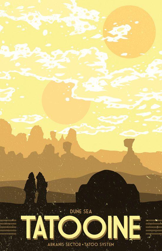 Tatooine Vacation Poster 12 x 18 inches Star by MattPepplerArt