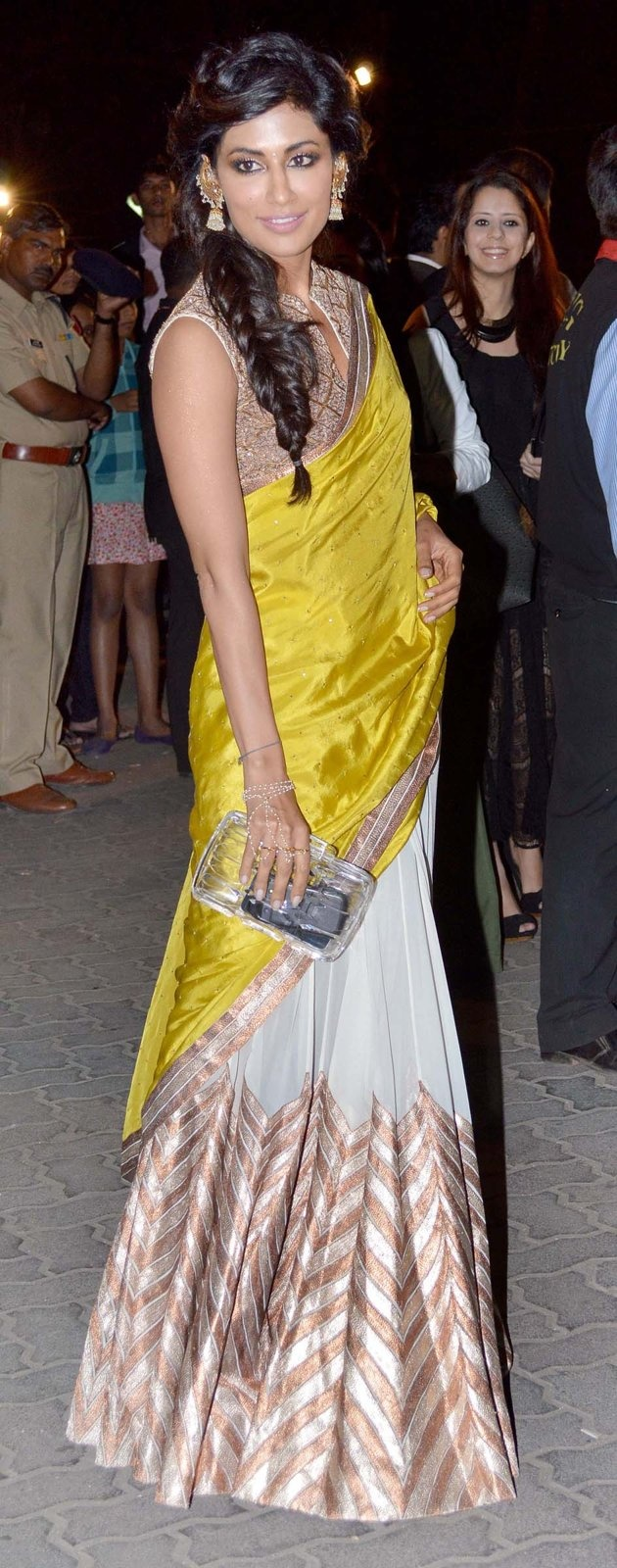 Chitrangada Singh- not a fan of the yellow here, I think a jewel tone green would work better. Love the cooper and white plus the braid!!
