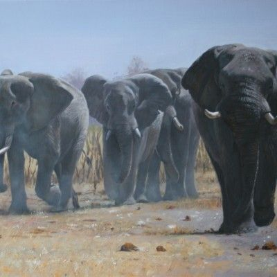 Elephant herd, Savute, Botswana 30 by 20ins 2014 copy