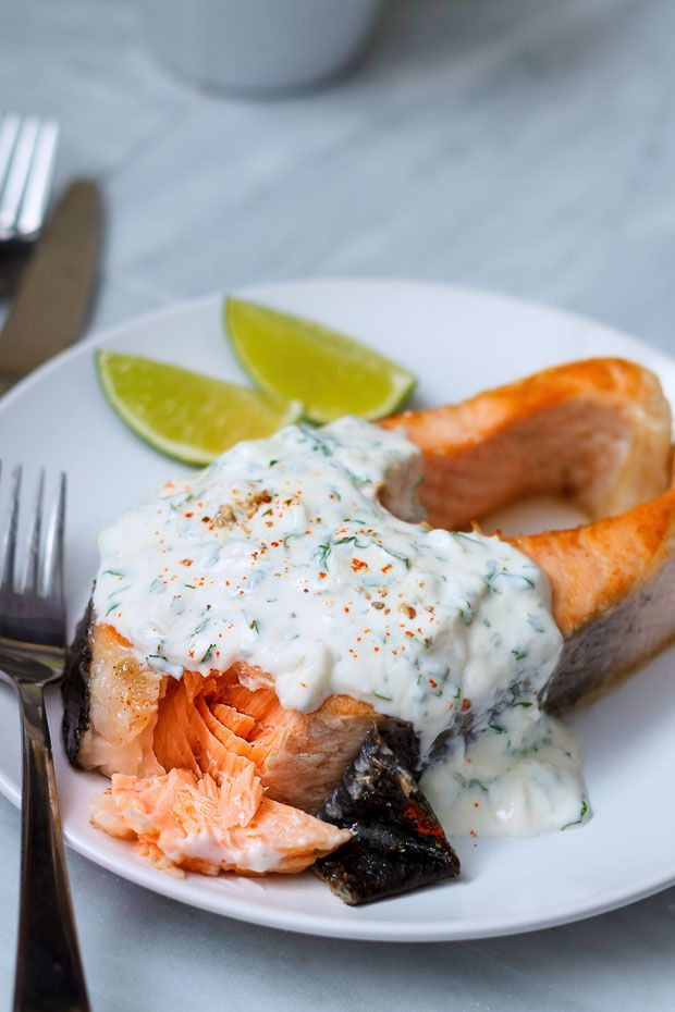 This grilled salmon steak recipe is almost impossible to mess up and cooking time is less than 20 minutes.