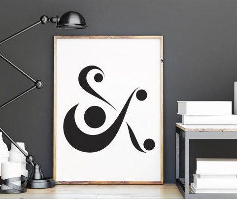 Ampersand Print, Scandinavian Art,  Abstract Ampersand Sign, Ampersand Wall Art, Printable Black and White, Minimalist Art, Nordic Design,