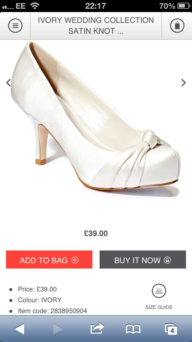 BHS wedding shoes Ivory wedding collection station knot detail £39