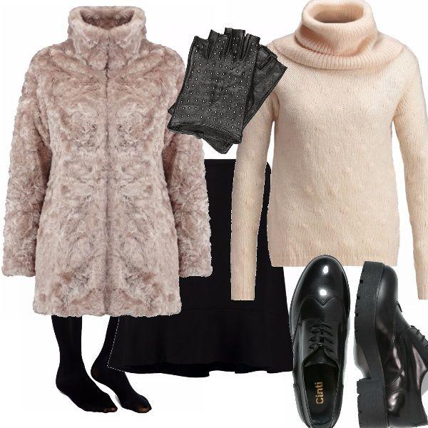 L'outfit è delicato e simpatico, la pelliccia sintetica rosata si abbina a meraviglia con la maglia a dolcevita dal collo ampio, la gonna di jersey svolazzante calza a pennello, la calza nera 80 den garantisce calore e la scarpa comodità. Il guanto è un vezzo borchiato e tagliato sulle dita