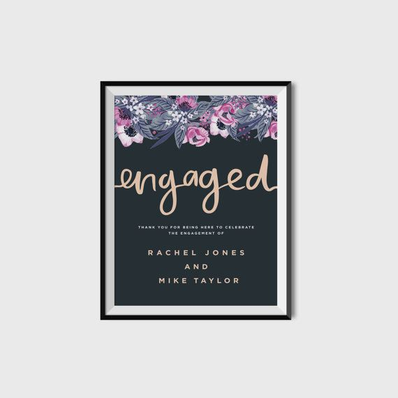 A3 Engagement Party Sign  | Printable | Brush Lettered | Blush pink, navy + floral