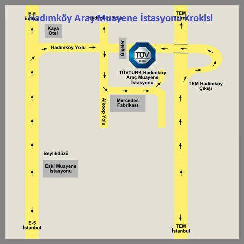 Hadımköy Araç Muayene İstasyonu Krokisi