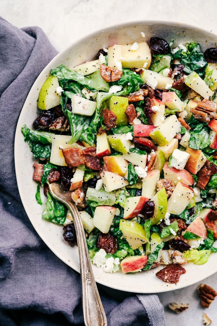 Autumn Chopped Salad with Creamy Poppyseed Dressing is all of your fall salad dreams come true! Crisp chopped apples, pears, ...