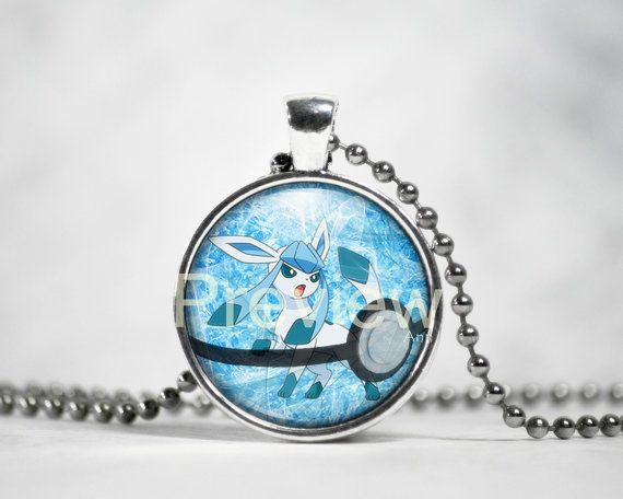 Glaceon Pendant Eevee evolution necklace Pokemon by PokemonyByAnn
