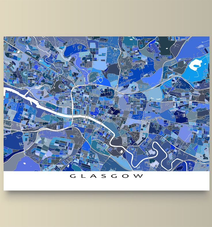 Beautiful Glasgow Scotland a map art