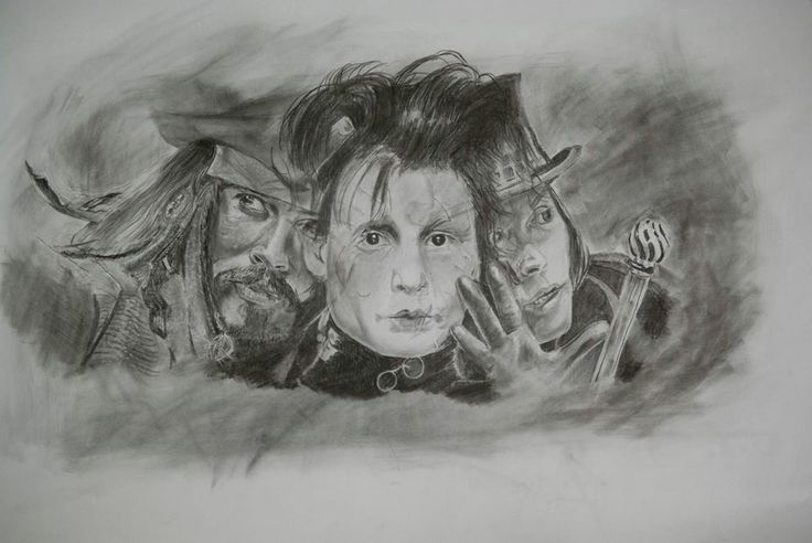 Johnny Depp portrait graphite pencil drawing
