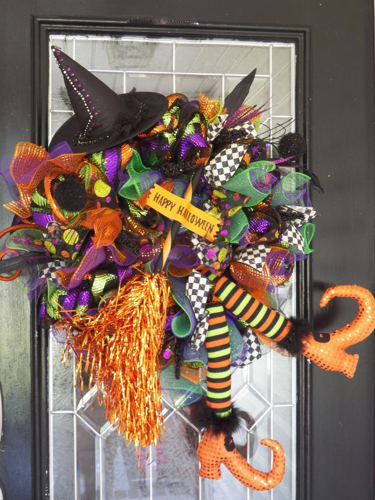 Wicked Witch Halloween Wreath, Halloween Decoration, Door Hanger, Wreath for Door, Front Door Wreaths, Witch, RAZ, Ready to Ship by OccasionsBoutique on Etsy