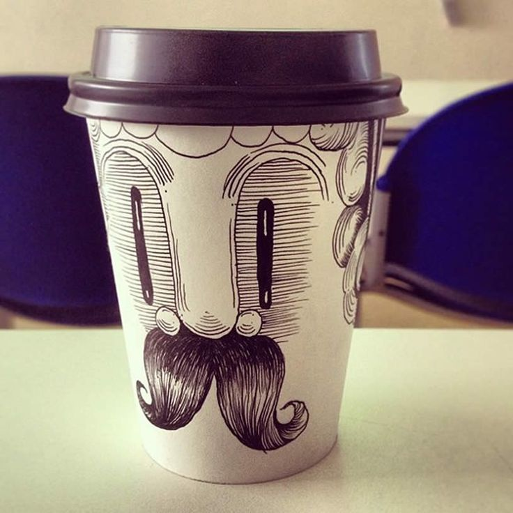 """Illusion: Chilean illustrator Kartess has named this furry-mouth guy, """"Senor Vaso."""" Drawing on coffee cups has also been trendy among artists such as Brock Davis, Cheeming Boey, and Tomoko Shintani. Photos © Kartess. http://illusion.scene360.com/art/44260/mr-moustache/"""