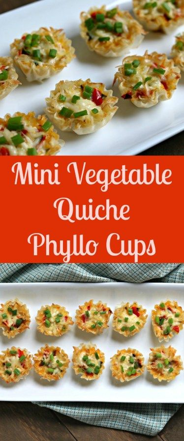 These Mini Vegetable Quiche Phyllo Cups are stuffed with vegetables, eggs and topped with Gruyère cheese to bring you the perfect appetizer for brunch or a special weekend breakfast! My youngest son who's almost 2 1/2 absolutely LOVES eggs, either over easy or scrambled.