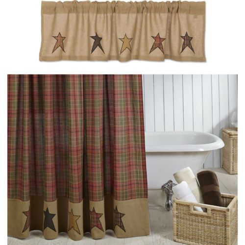 Stratton-Star-Plaid-Country-Primitive-Shower-Curtain-72-x-72-034-w-Valance-Option