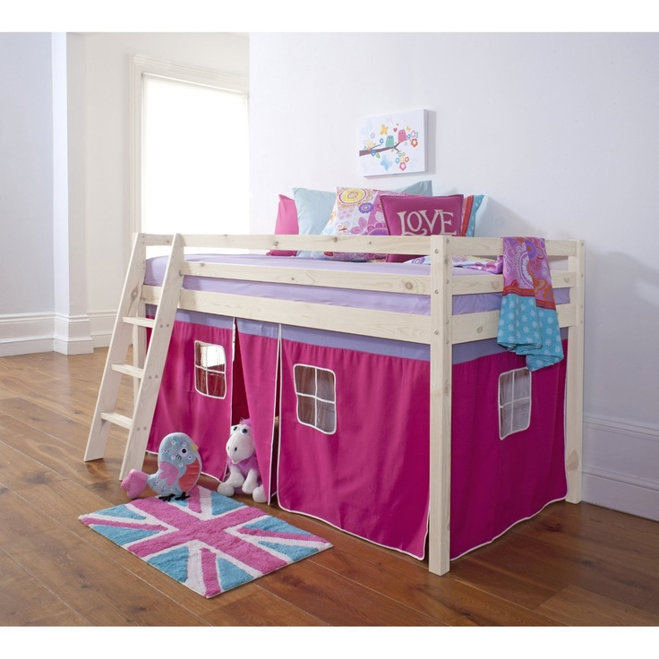 Cabin Bed Mid Sleeper Bunk With Tent Pink In Whitewash