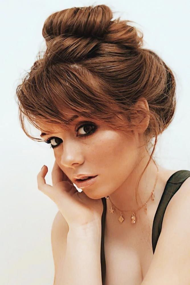 Elegant Updo With Side Swept Wispy Bangs #bangs #wispybangs ❤ Want to go for stylish wispy bangs? Our short, soft fringes for long hair, shoulder le