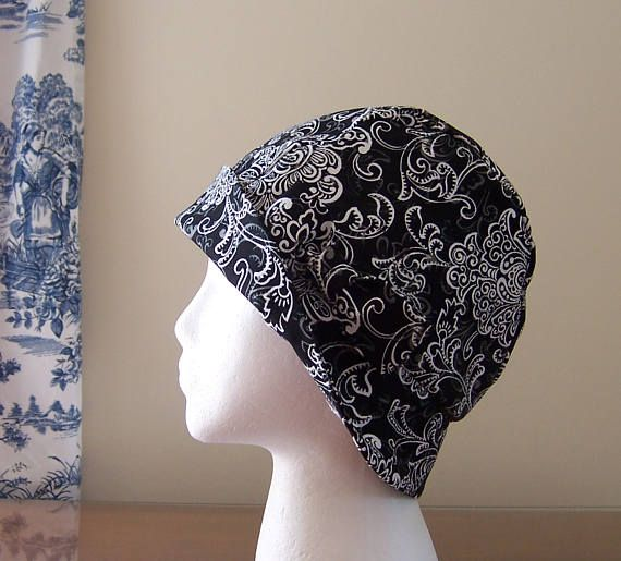 Chemo Hat Cloche Style Cotton Duck Fabric in Black and White