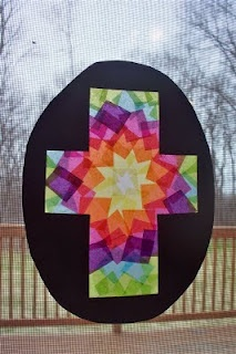 Easter Cross by Homegrown Catholics. Add tissue paper squares to contact paper. Cut black construction paper cross and glue on top.  @HomegrownCatholics.Blogspot.com