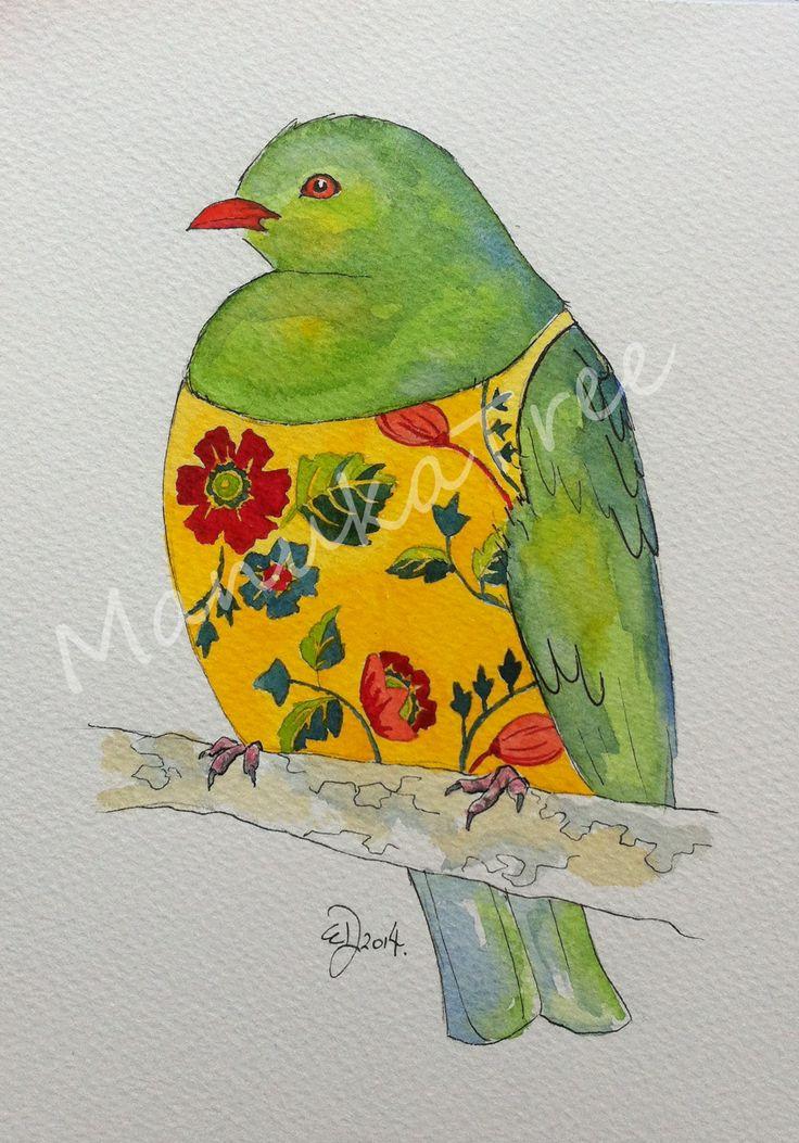 Kererū - NZ native wood pigeon  http://felt.co.nz/listing/225090/Original-watercolour---Elizabeth-Dodd