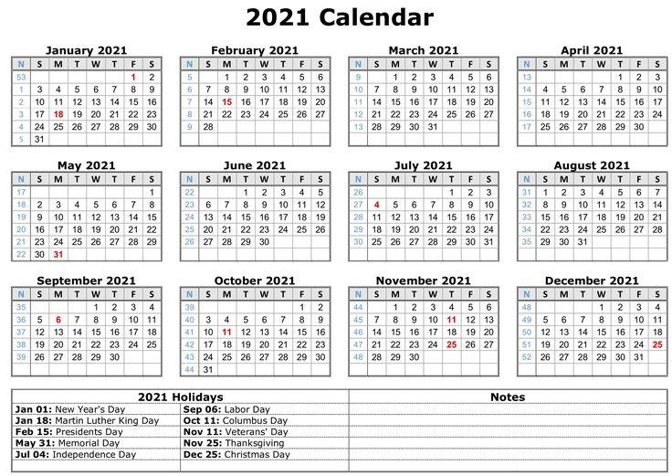 2021 Calendar with Holidays | Calendar template, Free ...