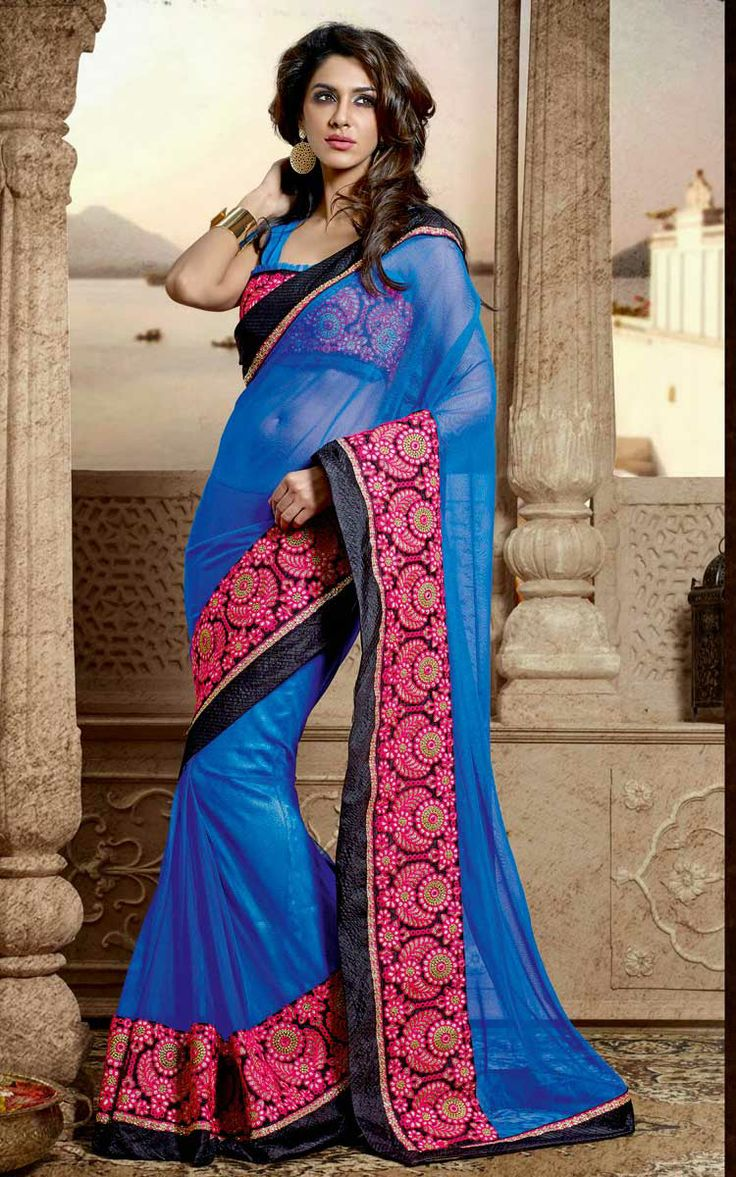 BLUE & PINK NET EMBROIDERED SAREE - DIFF 28339