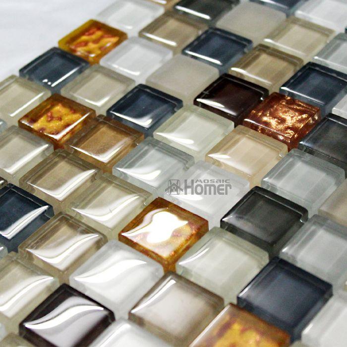 Экспресс-доставка бесплатно! 8 мм хрустальные и стеклянные мозаичные плитки коричневого цвета для кухни и ванной плитка, стены мозаика