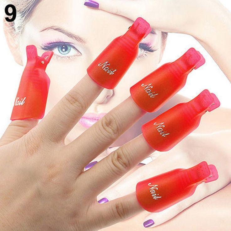 1-Set (10-Pcs) Heavenly Popular Plastic Nails Art Clip Cap Primer Decor Pedicure Kit UV Wrap Color Red -- Read more at the image link.