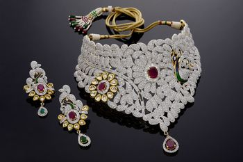 Beautiful zerkon stone studded necklace set from hyderabad jewels