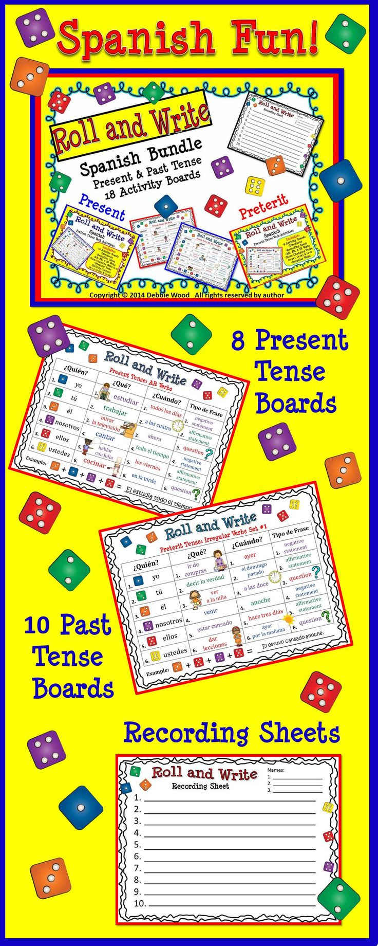 Spanish Roll & Write Bundle:  Present & Past Tense Verb Activities