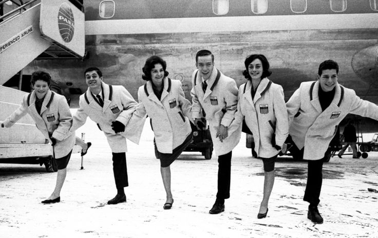 Frankfurt, Germany, January, 1964: Six members of the U.S. figure skating team strike a one-legged pose in front of the plane on which they just arrived from New York on their way to the Winter Olympics at Innsbruck, Austria. They are, left to right, Albertina Noyes, Tommy Litz, Christie Haigler, Monty Hoyt, Peggy Fleming and Scott Allen.