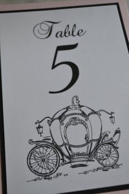 Cinderella Pumpkin Carriage Table Number http://www.toptableplanner.com/blog/once-upon-a-time-a-fairy-tale-wedding-table-plan