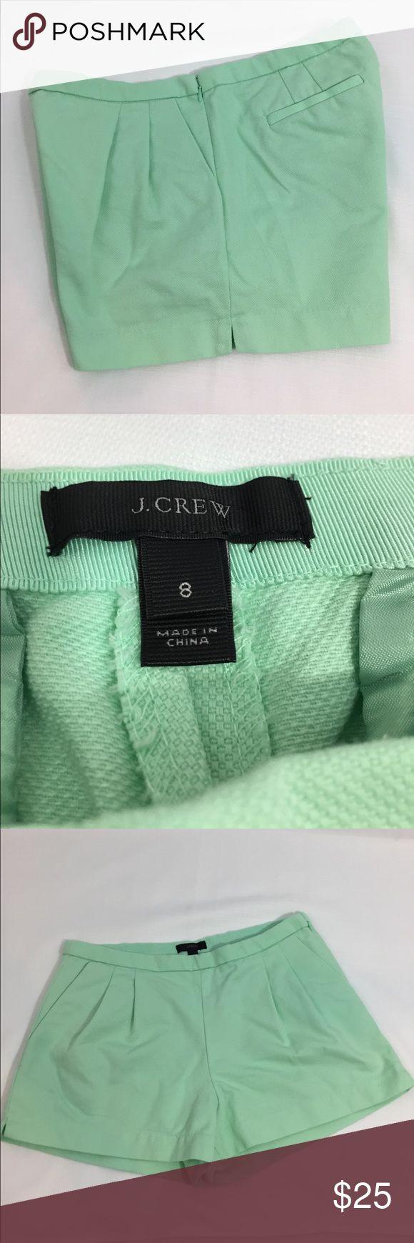 "J. Crew mint green dressy shorts sz 8 side zip Pretty spring green shorts from J. Crew sz 8.  Side zip, hook and eye closure.  Approximate flat lay measurements: waist/hip 15.5"", rise 9.5"", inseam 3"". J. Crew Shorts"