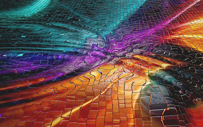 Lataa kuva 4k, värikäs aallot, kaltevuudet, art, luova