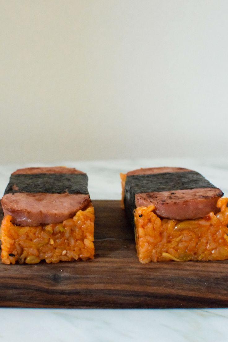 KIMCHI CHAHAN SPAM MUSUBI (spam musubi with kimchi juice-infused japanese-style fried rice) [Hawaii] [onigiri, o-nigiri, omusubi, o-musubi, rice ball, musubi] [asia pacific rice dish, onigiri] [kneadforperspective]